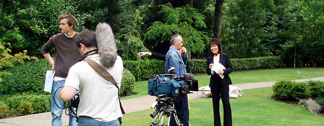 Filming for BBC TV 'Visionaries' at Kyoto Garden, Holland Park, London
